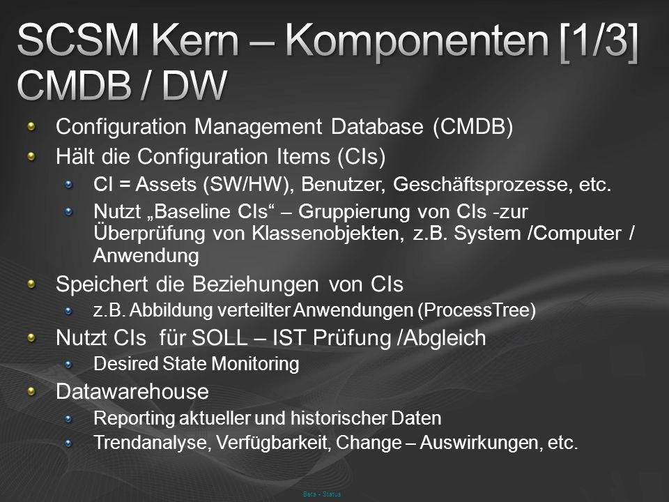 SCSM Kern – Komponenten [1/3] CMDB / DW